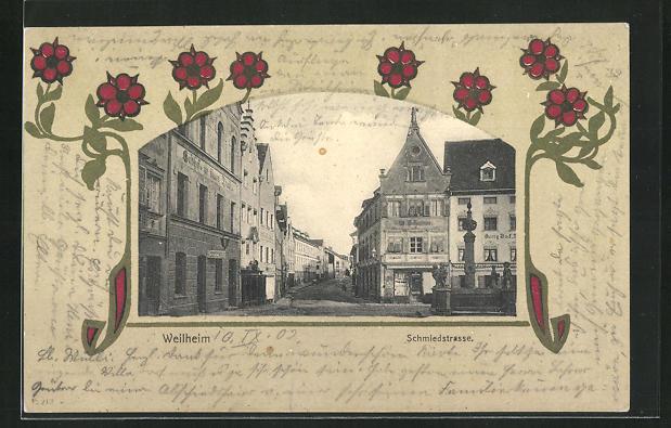 Passepartout-AK Weilheim, Blick in die Schmiedstrasse 0