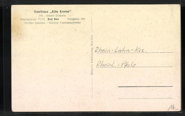 AK Bad Ems, Gasthaus Alte Krone, Koblenzerstr. 71 /73 1