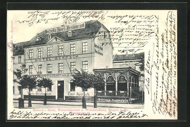 AK Bingen a. Rhein, Bertsch`s Hotel, Weinrestaurant u. Weinhandlung 0