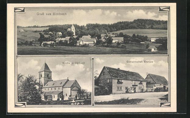 AK Birnbach, Gastwirtschaft Erdnüss, Kirche 0