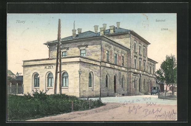 AK Alzey, Ansicht vom Bahnhof 0