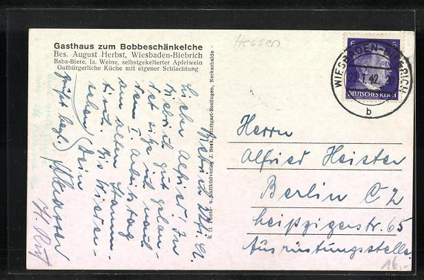 AK Wiesbaden-Biebrich a. Rh., Gasthaus zum Bobbeschänkelche, Strassenpartie mit Kirche 1