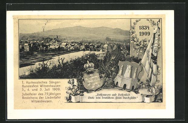 AK Witzenhausen, 1. Kurhessisches Sänger-Bundesfest Juli 1909, Ortsansicht 0
