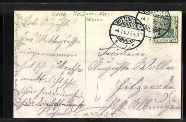 AK Witzenhausen, 1. Kurhessisches Sänger-Bundesfest Juli 1909, Ortsansicht 1