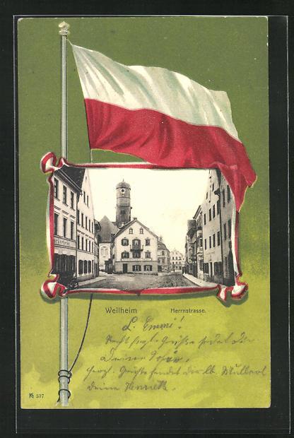 AK Weilheim, Blick in die Herrnstrasse 0