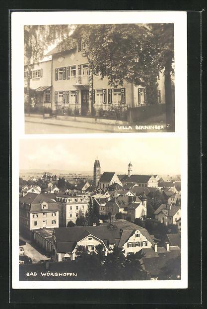 Foto-AK Bad Wörishofen, Hotel-Pension Berninger, Teilansicht mit Kirche 0