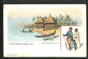 Lithographie Ualau / Ost-Karolinen, Hütten am Hafen, Fischerfamilie