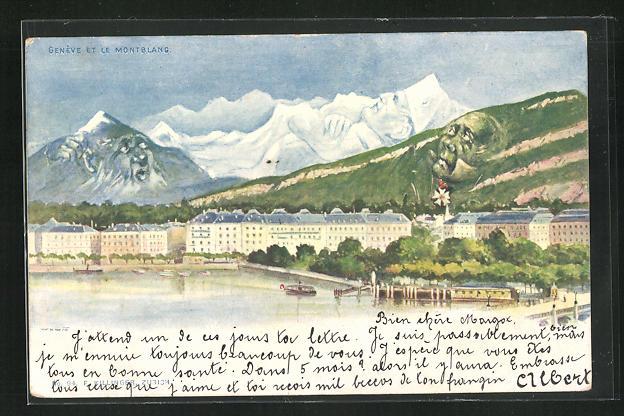 Künstler-AK Killinger Nr. 94: Geneve et le Mont Blanc, Berg mit Gesicht / Berggesichter 0