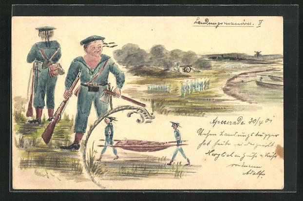 Künstler-AK Handgemalt: Apenrade, Manöver, Soldat in Uniform mit Gewehr und Axt, Sanitäter 0