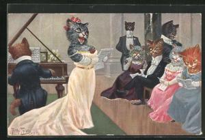 Künstler-AK Arthur Thiele: Katzenmusik auf einer festlichen Abendveranstaltung