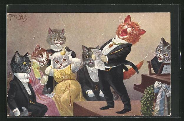 Künstler-AK Arthur Thiele: Katzenmusik findet wenig Anklang beim Publikum 0