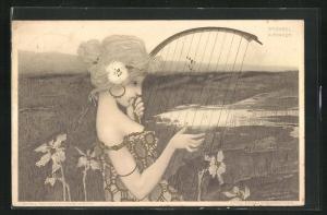 Künstler-AK Raphael Kirchner: Schöne Harfistin vor einer Moorlandschaft