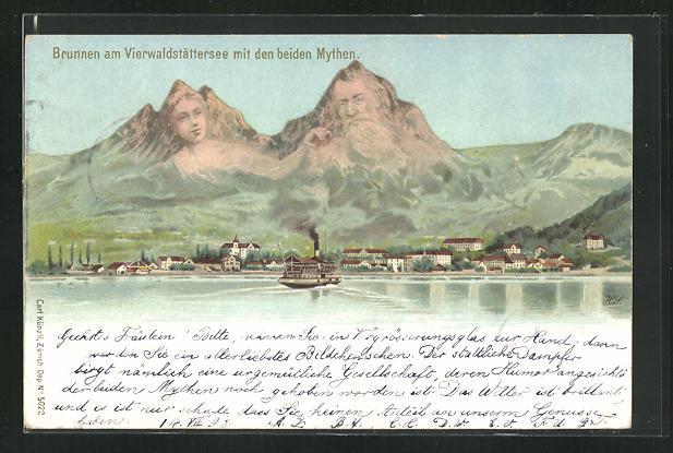 Lithographie Künzli Nr. 5022: Brunnen, Ortsansicht mit Mythen, Berg mit Gesicht / Berggesichter 0