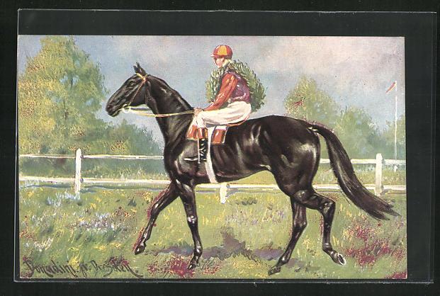 Künstler-AK Ermenegildo Carlo Donadini: Siegreicher Jockey mit Kranz auf seinem Pferd 0