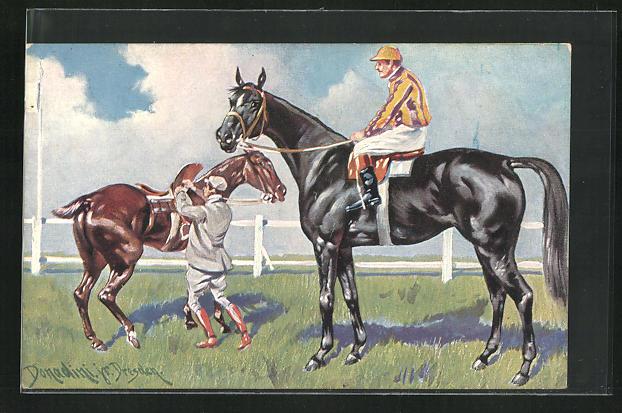 Künstler-AK Ermenegildo Carlo Donadini: Jockeys bereiten ihre Pferde auf ein Rennen vor 0