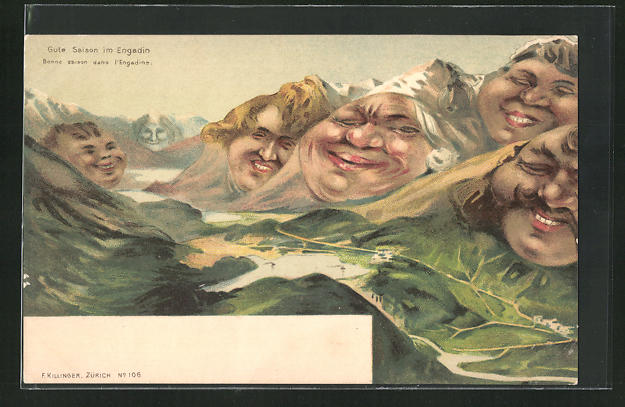 Künstler-AK Killinger Nr. 106: Gute Saison im Engadin, Berg mit Gesicht / Berggesichter 0