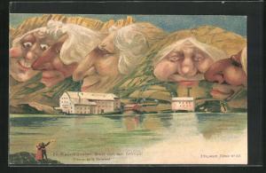 Künstler-AK Killinger Nr. 105: Ein Mauerblümchen-Gruss von der Grimsel, Berg mit Gesicht / Berggesichter