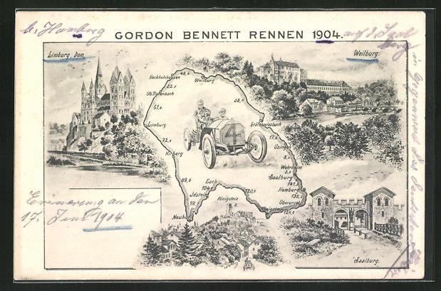 AK Weilburg, Gordon Bennett Autorennen 1904, Teilansicht vom Ort, Limburger Dom, Saalburg 0