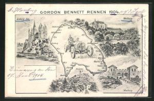 AK Weilburg, Gordon Bennett Autorennen 1904, Teilansicht vom Ort, Limburger Dom, Saalburg
