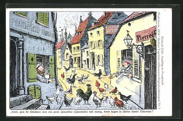 Künstler-AK Heinrich Zille: Soldaten füttern aus den Fenstern ihrer Kriegsunterkünfte die Hühner 0