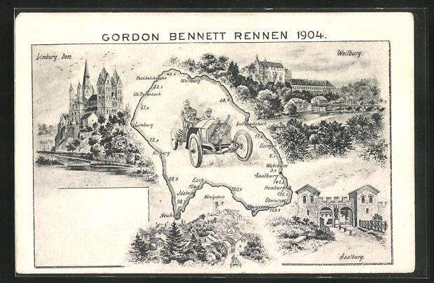AK Limburg, Gordon Bennett, Autorennen Limburg-Weilburg-Saalburg 1904 0
