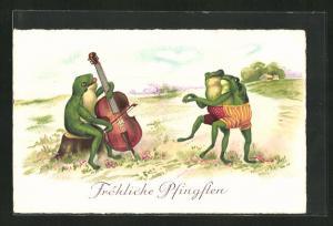 AK Fröhliche Pfingsten, Frosch mit Cello spielt zum Tanz auf