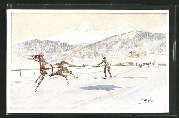 Künstler-AK Carlo Pellegrini: Skijöring in winterlicher Alpenlandschaft 0