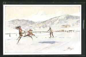 Künstler-AK Carlo Pellegrini: Skijöring in winterlicher Alpenlandschaft