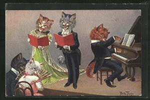 Künstler-AK Arthur Thiele: Katzenmusik mit Begleitung am Piano