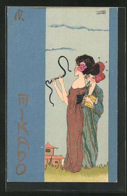 Künstler-Lithographie Raphael Kirchner: Mikado, Jugendstil, Geisha mit Schlange 0