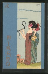Künstler-Lithographie Raphael Kirchner: Mikado, Jugendstil, Geisha mit Schlange