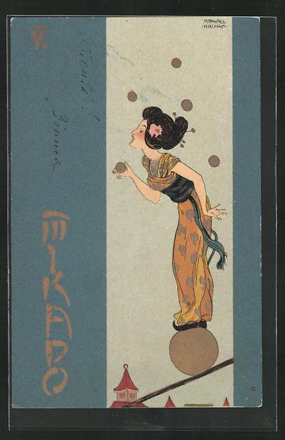 Künstler-Lithographie Raphael Kirchner: Mikado, Jugendstil, Balancierende Geisha 0