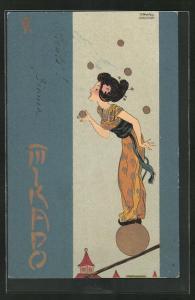 Künstler-Lithographie Raphael Kirchner: Mikado, Jugendstil, Balancierende Geisha
