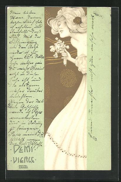 Künstler-Lithographie Raphael Kirchner: Demi Vierge, Maid mit Blumen 0