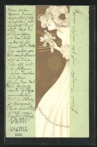 Künstler-Lithographie Raphael Kirchner: Demi Vierge, Maid mit Blumen