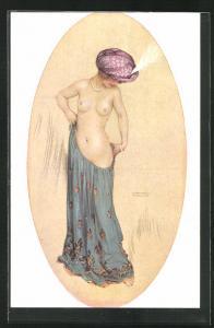 Künstler-AK Raphael Kirchner: Princesse Riquette, Erotik, Halbakt