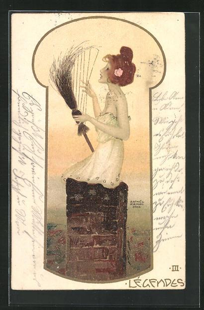 Künstler-Lithographie Raphael Kirchner: Légendes, Hexe mit Besen-Harfe in Schornstein 0