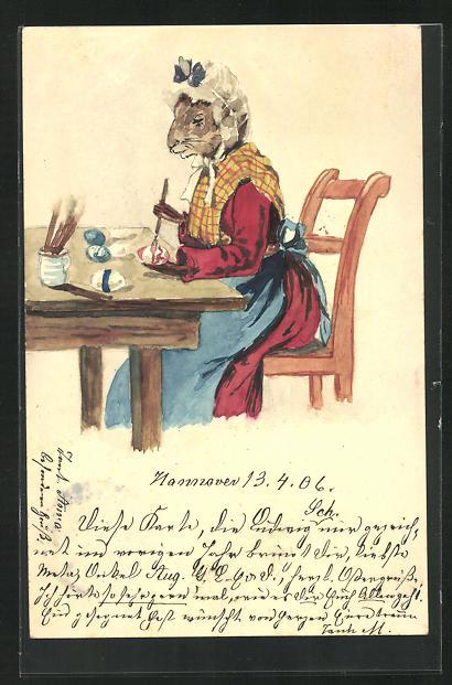 Künstler-AK Handgemalt: Frau Osterhase bemalt Eier, Ganzsache 0