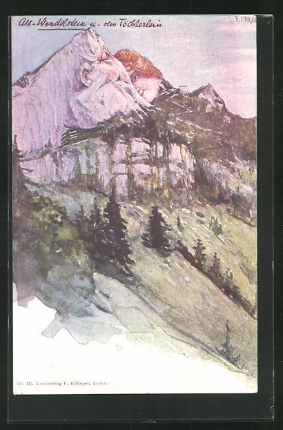 Künstler-AK Fritz Hass: Killinger Nr. 147, Alt-Wendelstein und sein Töchterlein, Berg mit Gesicht / Berggesichter 0