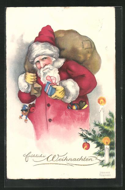 Künstler-AK Hannes Petersen: Fröhliche Weihnachten, Weihnachtsmann 0