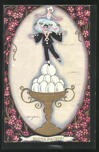 Künstler-AK Carlo Chiostri: Buona Pasqua, Pierrot und Pierette 0