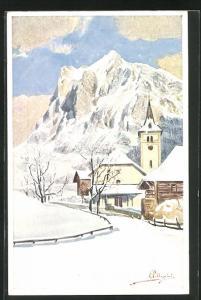 Künstler-AK Carlo Pellegrini: Verschneite Ortschaft in den Alpen