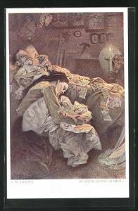 Künstler-AK Alphonse Mucha: Blahoslaveni Lkající, Witwe und verstorbener Gatte
