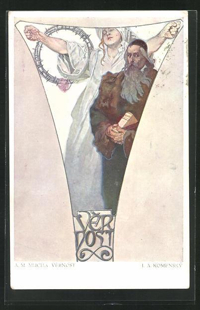 Künstler-AK Alphonse Mucha: Vernost, Gemälde 0