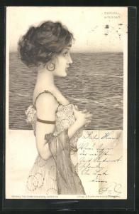 Künstler-AK Raphael Kirchner: Schönes Mädchen mit melancholischem Blick am Meer