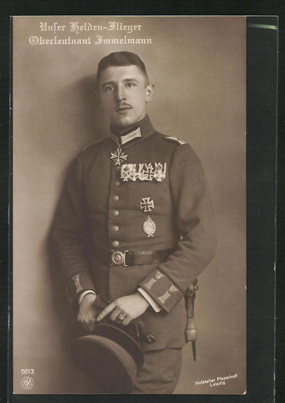 AK Helden-Flieger Oberleutnant Immelmann in Uniform mit Orden 0