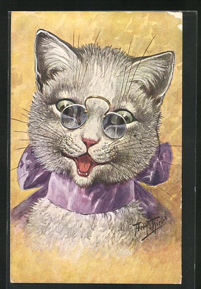 Künstler-AK Arthur Thiele: Katze mit Zwicker und lila Schleife um den Hals 0