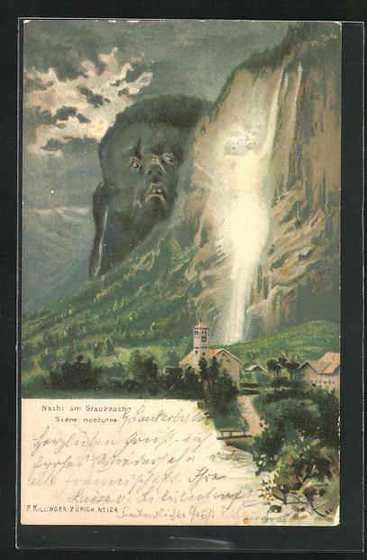 Künstler-AK Killinger Nr. 124: Nacht am Staubbach, Berg mit Gesicht / Berggesichter 0
