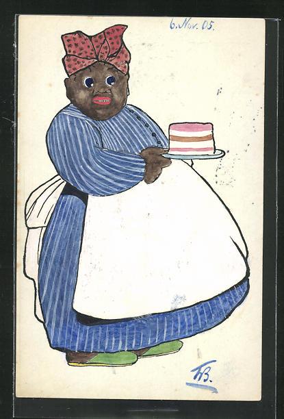 Künstler-AK Handgemalt: Dicke Afrikanerin serviert einen Kuchen 0