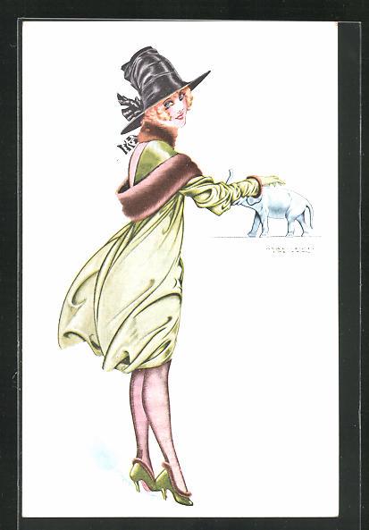 Künstler-AK sign. Maurice Pépin: Porte-Bonheur, Elegante Dame mit kleinem Elefanten 0